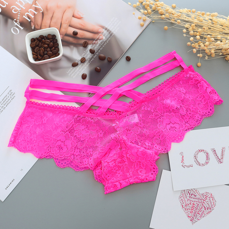 Sexy Panties Women Lace Low-rise Solid Sexy Briefs Female Underwear Pant Ladies G-Strings Cross Strap  Lingerie G String Thong