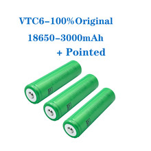 VariCore VTC6 3.7V 3000 mAh 18650 Li-ion Rechargeable Battery 30A Discharge for US18650VTC6 batteries + Pointed