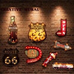 20 أنماط Vintage مصباح ليد علامات النيون اللوحة الزخرفية ل حانة بار مطعم مقهى الإعلان لافتات علامات معدنية معلقة