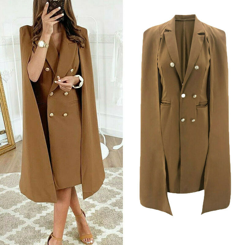 Women Slim Casual Jacket Top Outwear Long Sleeve Career Formal Coat Capes