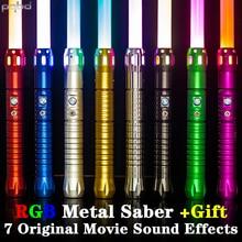 pqbd RGB Jedi Laser Sword Original Movie Sound Effects Heavy Dueling Light Saber Automatic 11 Color Changing Blaster Lightsaber
