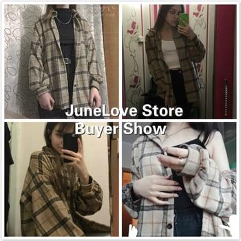 JuneLove Female Spring Street Blouse Shirts Vintage Oversized Plaid Flannel Boyfriend Tunic Shirt for Women Casual Korean Tops 3