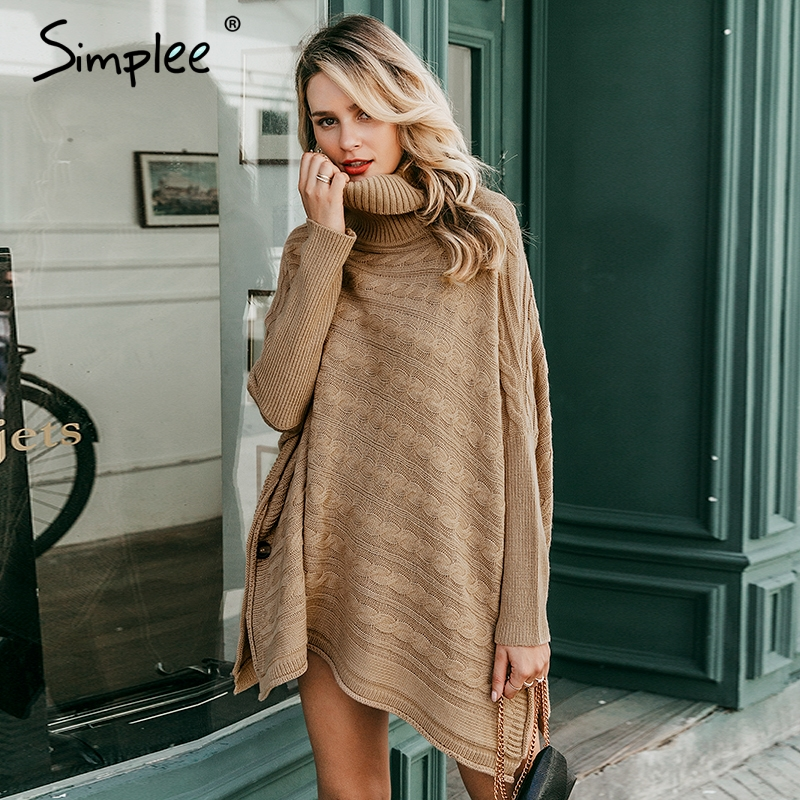 Simplee Turtlneck Knitted Women  Poncho Cloak Sweater Bat Sleeve Autumn Winter Female Pullover Sweater Side Split Capes Cloak