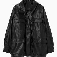 Winter Black Leather Jacket Women Korean Thin Loose Moto Jacket Female 2021 Spring Fashion Streetwear Lady Outerwear Biker Coats