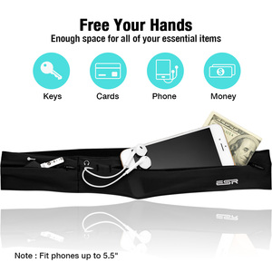 Поясной ремень для бега, ESR для мужчин и женщин, поясной ремень для бега, сумка для бега с кармашком для ключей, разъем для наушников для iPhone X/8 Plus/7/6