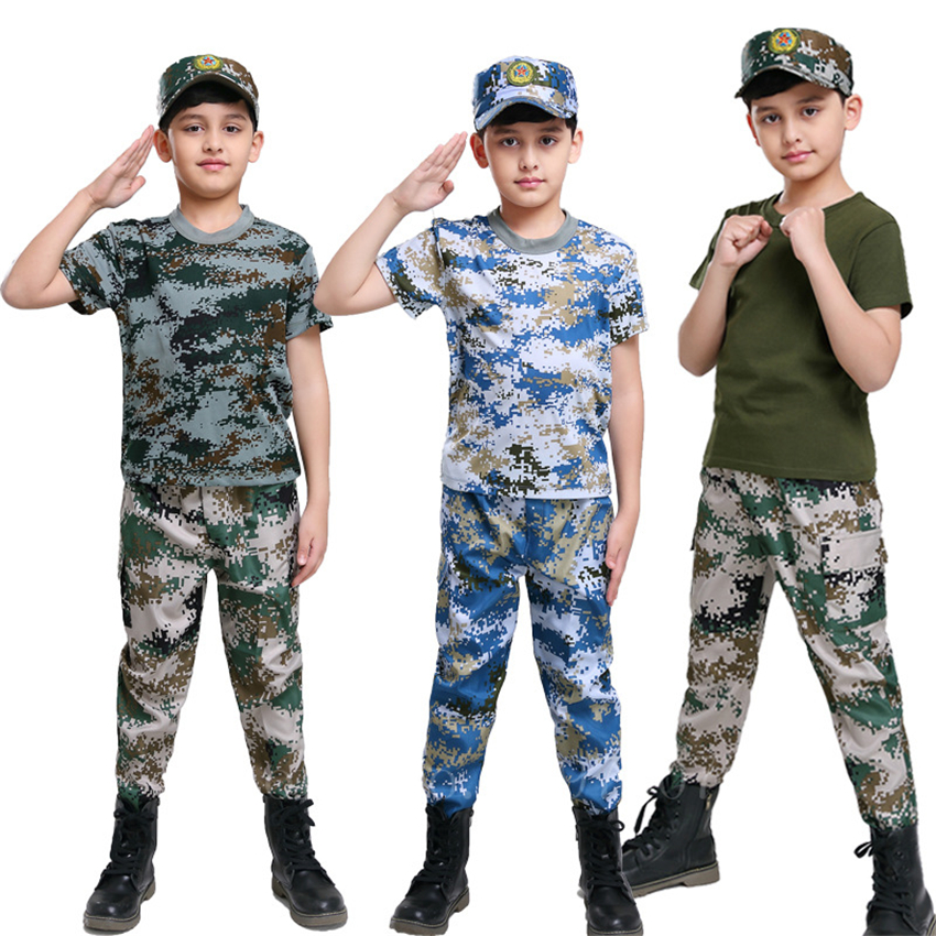 Military Uniform For Children Tactical Combat Training Clothing Set Summer Kids Camouflage Outdoor Hunting Army Suits