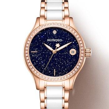 RUNOSD Ladies Watch Luxury Rose Gold Zircon Starry Calendar miyota Mechanical Movement Sapphire Crystal Stainless Steel 8199LX 1