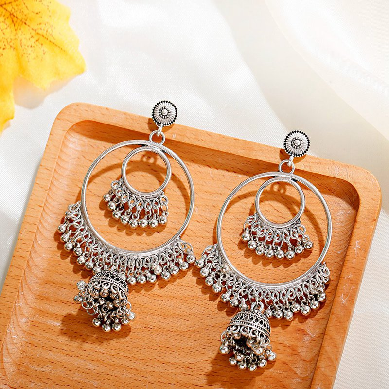 Hfe41ad36e02d4c6087875099c25d6981F - Antique Gold Boho Big Round Circle Gypsy Tribal Indian Drop Earrings For Women Vintage Bell Tassel Earring Womens Jewellery