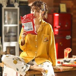 Image 4 - Женская одежда для осени и зимы, пижамные комплекты, одежда для сна, милая мультяшная Пижама, Женская Хлопковая пижама с длинным рукавом для женщин