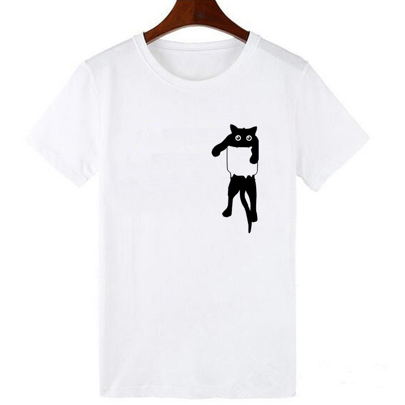Europe and America Cat Print Casual Harajuku Tshirt Summer new Short sleeve Casual round neck Clothes loose women 39 s t shirt top in T Shirts from Women 39 s Clothing