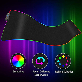Jelly Comb RGB Luminous Gaming Mouse Pad Non-Slip Rubber Desktop Mouse Pad for PC Laptop LOL Cambol Gaming Mouse Desk Mat Black