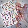 3D голографические клейкие наклейки для ногтей с бабочками, наклейки для ногтей, украшения, дизайн «сделай сам», переводные наклейки для ног...