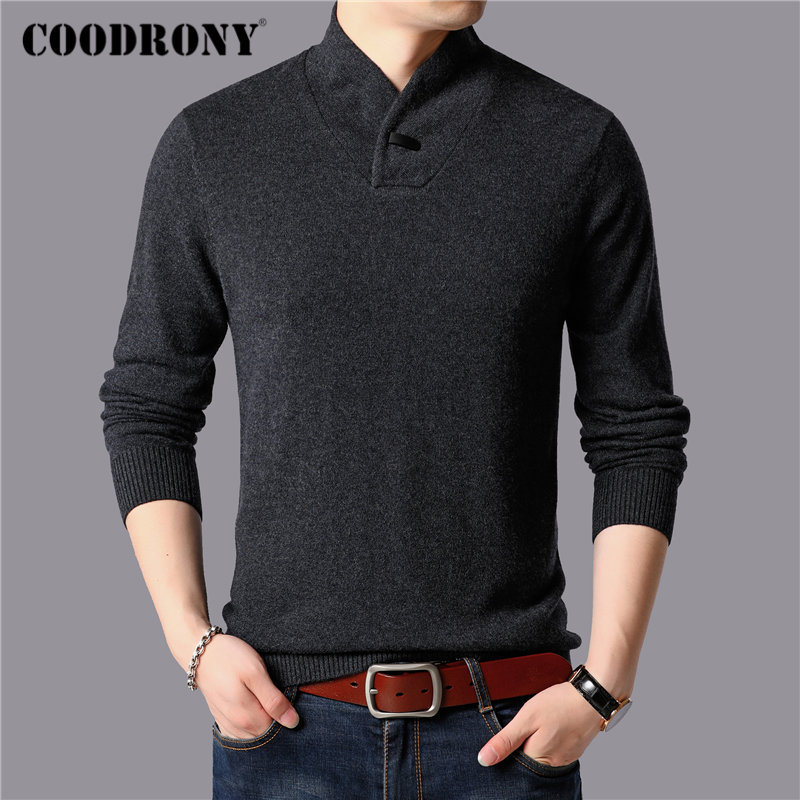 COODRONY Brand Fashion Turtleneck Sweater Men 2019 New Winter Thick Warm Sweaters Pull Homme Pure Merino Wool Pullover Men 93038