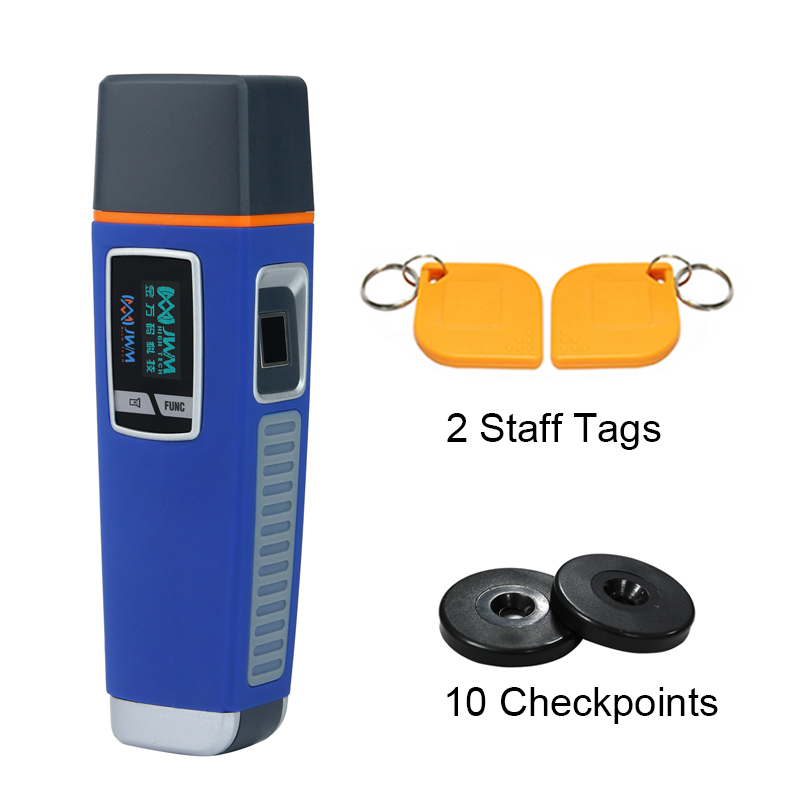 JWM Waterproof Fingerprint Security Guard Tour Patrol Wand System With Voice Prompt And Free Cloud Software