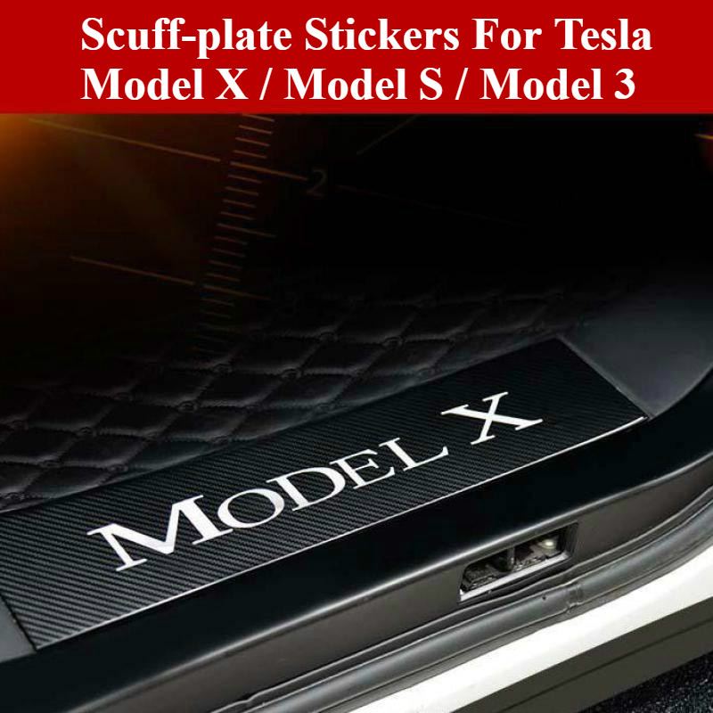 BAFIRE 4PCS Imitation Carbon Fiber Car Door scuff-plate Sticker for Tesla Model X Model S Model 3 Anti-Scratch Protector Covers
