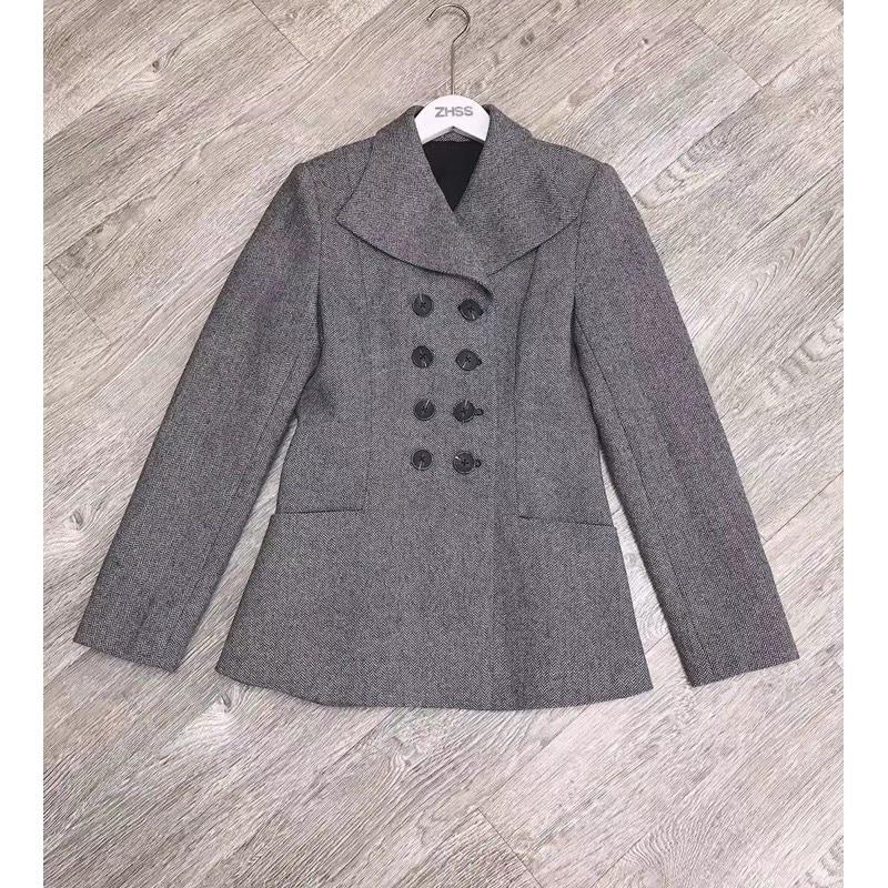 2019 Women Winner/Autumn Blazer Skirt 2 Piece Set Long Sleeve Wool  Jacket Office LadyPlaid Mesh Skirt Pleated Midi Skirts Suit