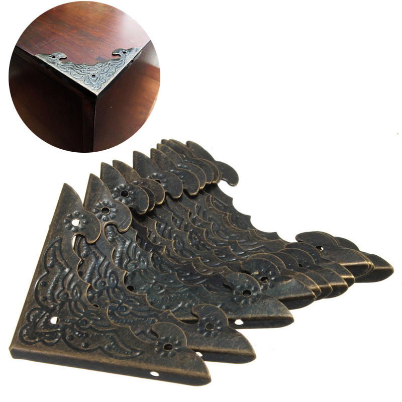 12pcs Retro Antique Jewelry Box Corner Protector Wooden Furniture Case Box Corner Bronze Bat Carved DIY Metal Crafts Protector