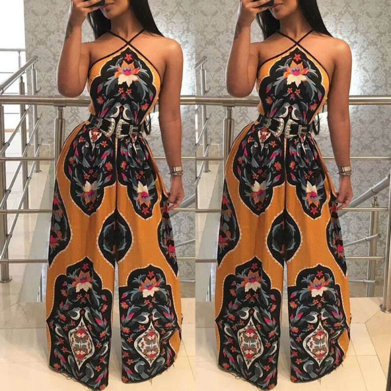 USA Women Ladies Print Jumpsuits Clubwear Summer Playsuit Party Strap Jumpsuit Romper Casual Trousers