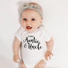 Boy Baby Rompers Uncle Hello Auntie Costumes Short-Sleeve Newborn Girl Roupas-Infantil
