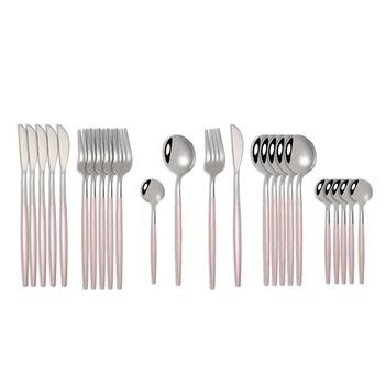 24pcs Cutlery Stainless Steel Tableware Kitchen Cutleri Fork Gold Utensils Dinnerware Set Black Knife Knives Spoon Dinner Travel - China, Pink Silver