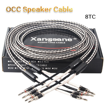 Xangsane 8TC single crystal copper audio speaker cable HiFi amplifier speaker cable Y-Y Banana plug-Banana plug Banana plug-Y xangsane audiophile audio cable 4pcs hifi ofc silver plated audio cable speaker cable banana plug y plug