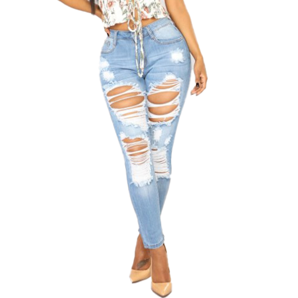 VICABO Ripped Jeans Full Length Zipper Fly Distressed Casual Denim Trousers Skinny Light Blue Slim Pencil sexy jeans for women