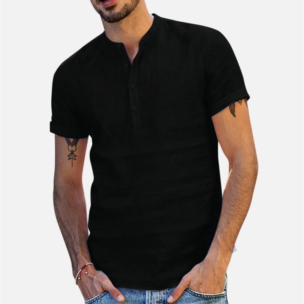 Cotton Linen T-shirt Men  2