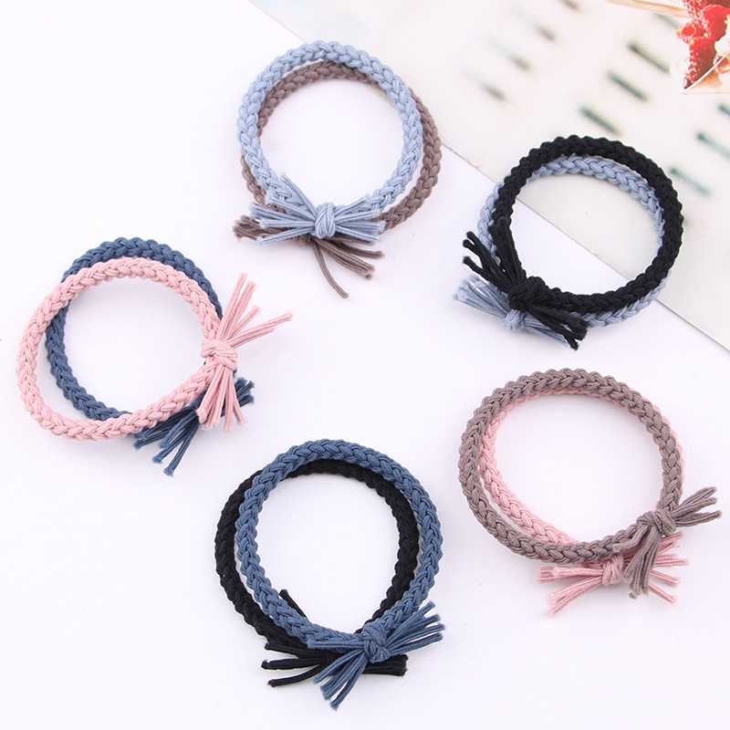 6 Colors Elastic Hair Bands Tassel Twisted Bow-knot High Elasticity Woman Girls Headband Children Rubber Band Hair Accessories
