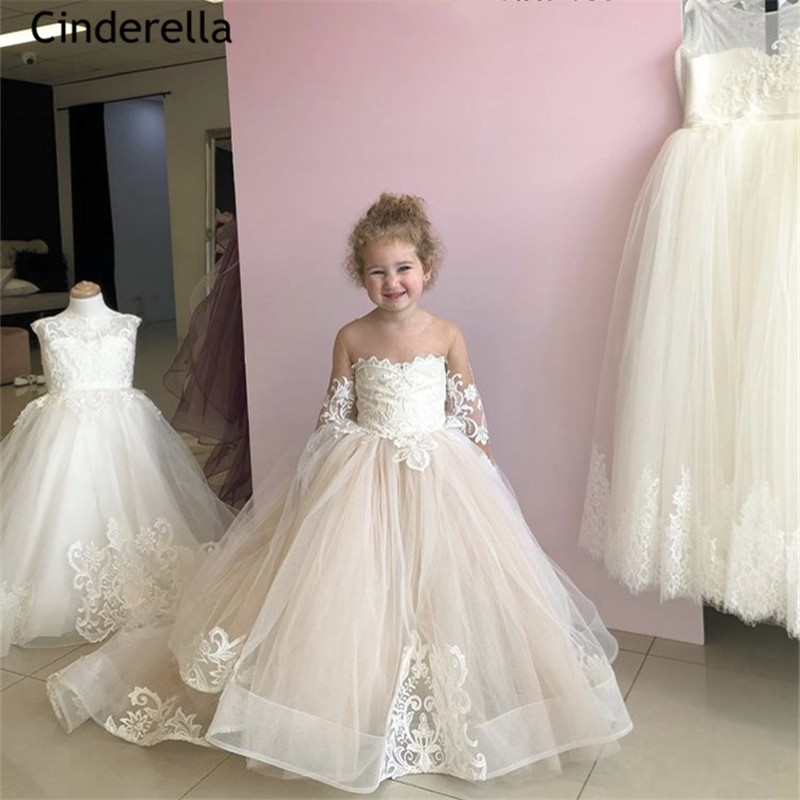 Light Champagne Scoop Long Sleeves A-Line Lace Applique Tulle   Flower     Girls     Dresses   With Hand Made Bow   Girls   Wedding Party   Dress