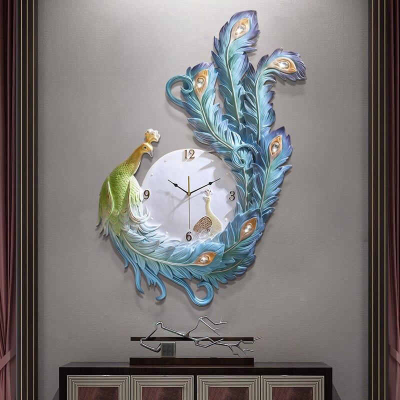 Horloge décoration murale paon Homing mouvement silencieux horloge moderne minimaliste porche horloge murale horloge européenne