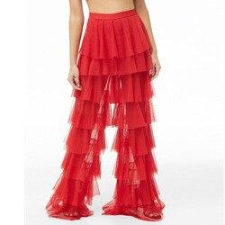 Mode Tiered Tüll Hosen Frauen Hohe Taille Geschichteten Frauen Hosen Streetwear Tüll Breite Bein Hosen Nach Maß Plus Größe