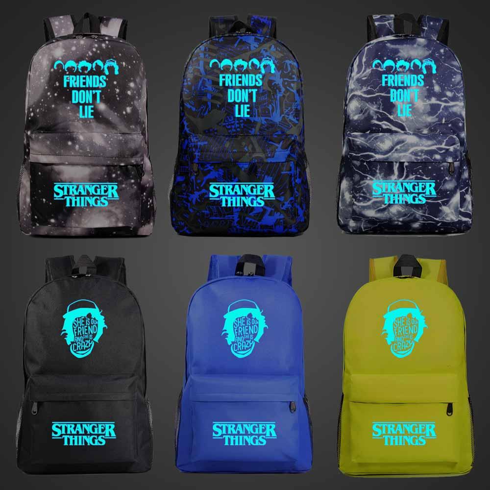 Blue Luminous Fashion Stranger Things Boy Girl Book School Bag Women Bagpack Teenagers Schoolbags Men Student Backpack