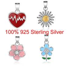 100% Sterling Silver Sun flower Heart rate Heart charms Flower Small Charm Pendant for Women's Necklaces Wholesale Gift(China)