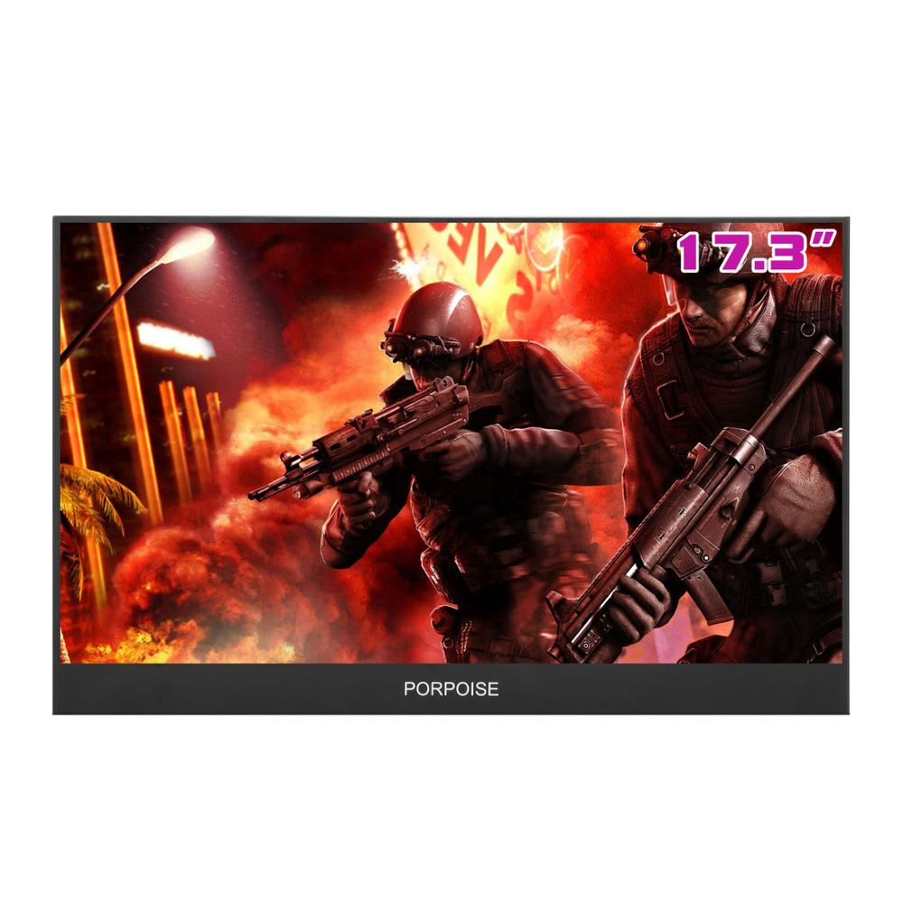 17.3 Inch Super-Ultra  Portable Monitor 1920 * 1080P IPS Screen USB Display With Folding Holder For HDMI PS3 PS4 XBOX For PC