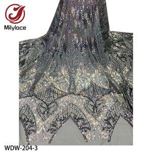 Image 3 - Yeni parlak Bling Sequins dantel 5 metre yüksek kaliteli afrika dantel kumaş örgü dantel düğün parti WDW 204