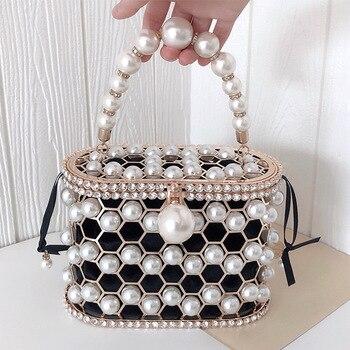 Luxury Hollow Out Pearl Flower Mini Bucket Handbag  4