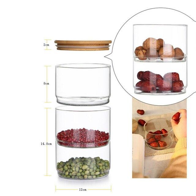 Glass Jars and Lids Creative Stackable Moisture-proof Seasoning Storage Bottle Kitchen Food Fruit Salad Bowl Christmas Candy Jar 6