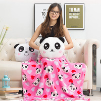 Cartoon Panda Is Three in One Pillow Multi functional Air Conditioner Blanket Cushion Hand Warmer Pillow Lunch Break Office Blan