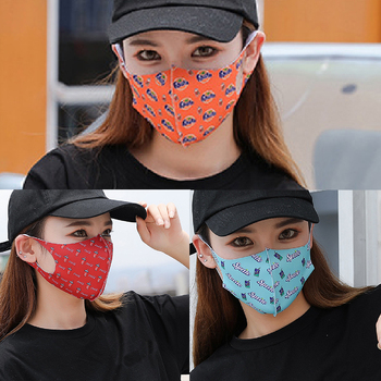 Fashion Reusable Face Shield Wind Proof Mouth Cover Cola Fanta Sprite Strawberry Camouflage Printed Masks Sunscreen Mouth Mask image