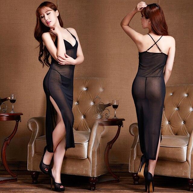 OLO Deep V Neck Long Sex Sleepwear Sex Lingerie Women  Nightgown Sexy Lace Women Porn Dress Erotic Underwear Night Dress