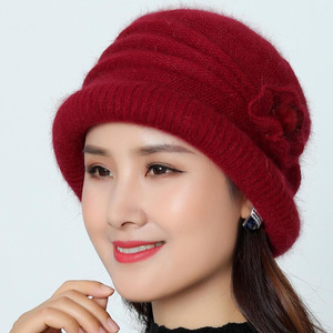 Image 5 - Women Wool Hat Cap Woolen Beanie Hat Winter Knitted Hats with Flower Pattern Ladies Fashion Warm Women Capot Skullies Cap