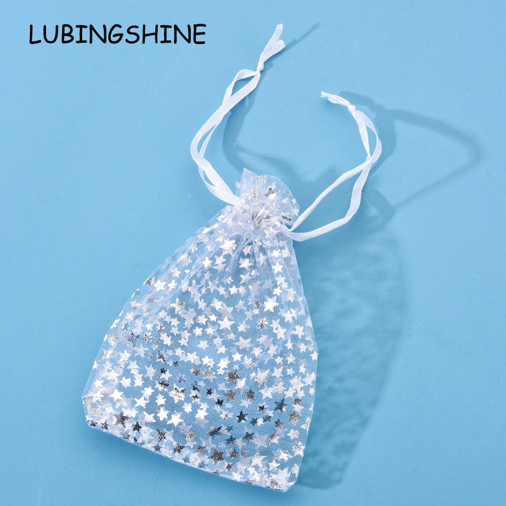 50pcs/lot Wedding Party Organza Gift Bags Strap Drawstring Candy Pouches Wholesale Jewelry Packaging With Star 9*12 Cm 13*18 Cm