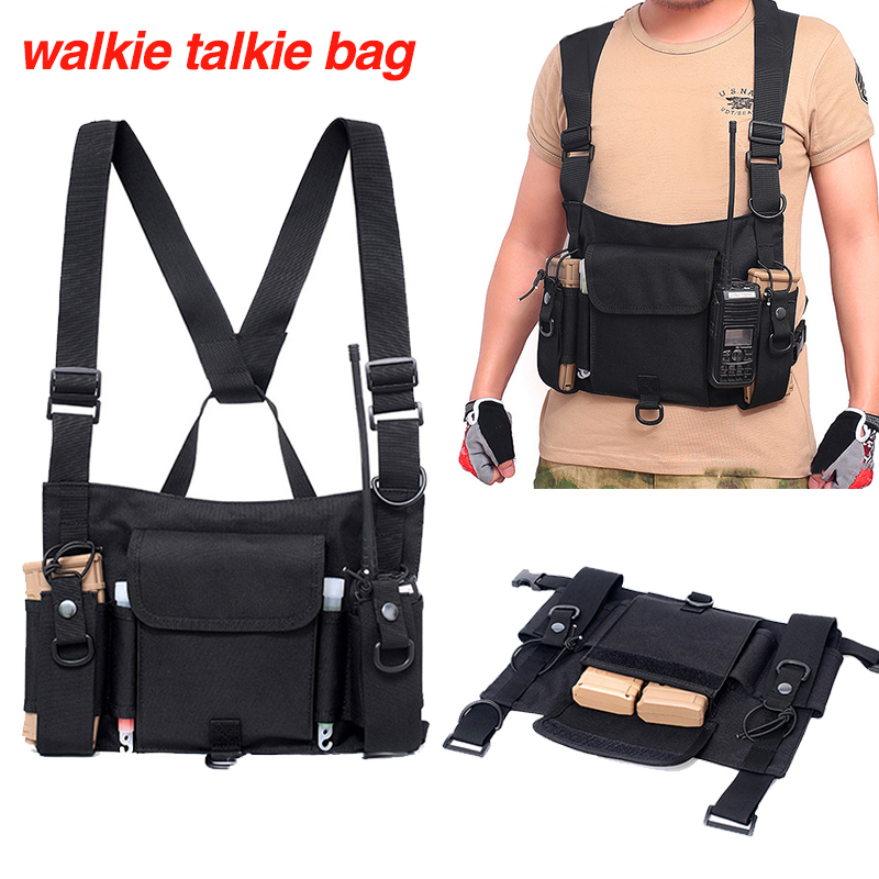 Army Pouch Chest Baofeng Radio Storage Case Military Armor Tactical Molle Vest BF-888S UV-5R UV-9R Plus Walkie-Talkie Carry Bag
