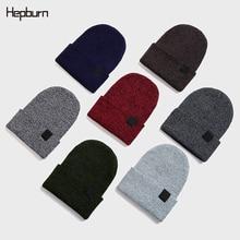 Hepburn Brand Unisex Winter Knitted Cuffed Melon Cap Skullcap Baggy Women Men Beanie Wool Knitted Beanie Skull Cap Brimless hats