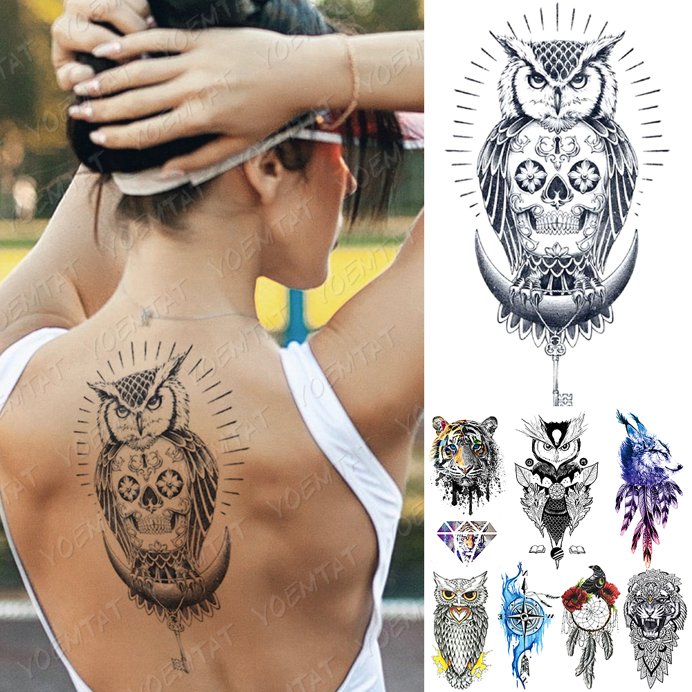 Waterproof Temporary Tattoo Sticker Compass Owl Skull Flash Tattoos Tiger Diamond Wolf Body Art Arm Fake Sleeve Tatoo Women Men