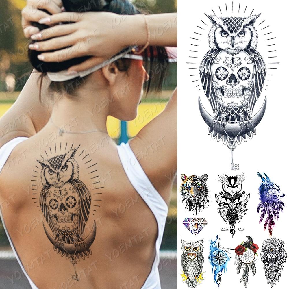 Waterproof Temporary Tattoo Sticker Compass Owl Skull Flash Tattoos Tiger Diamond Wolf Body Art Arm Fake Sleeve Tatoo Women Men
