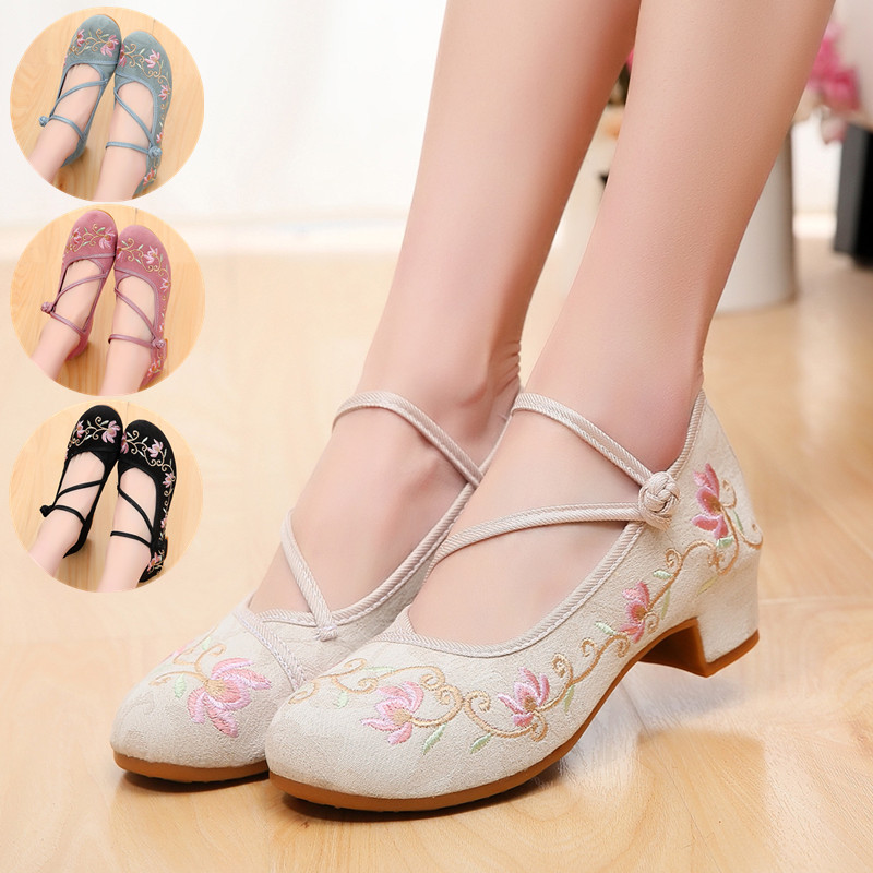 New Chinese Style Retro Womens Pumps Shoes Embroidery Med Heel Ethnic Size 34-41 A3