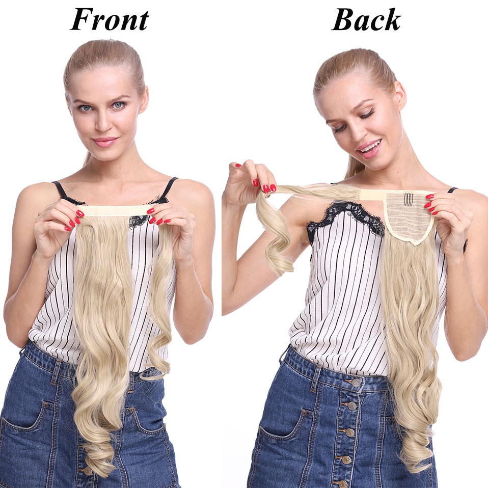 "Hfe4331ef3a88436096dbed87f7cc6e27J - s-noilite 23"" Long Curly Clip In Hair Tail False Hair Ponytail Hairpiece With Hairpins Synthetic Hair Pony Tail Hair Extension"