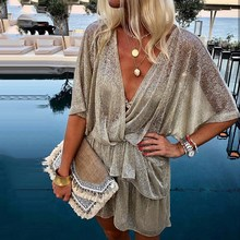 Women Irregular Sequin Wrap Party Dresses Casual Sparkly Glitter Plunge V Neck Sequined Sexy Dress Vestidos