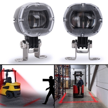 2PCS Mini Forklift Safety Lights Zone Warehouse Pedestrian Warning Light Truck Security Indicator LED Spotlight Red